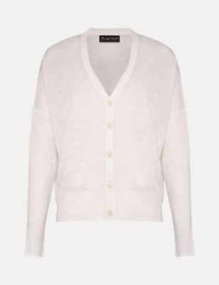 V-Neck Button Front Relaxed Cardigan