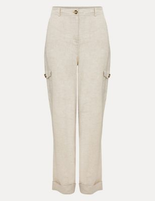 Pure Linen Tapered Trousers