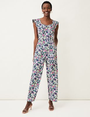 Floral Sleeveless Waisted Jumpsuit