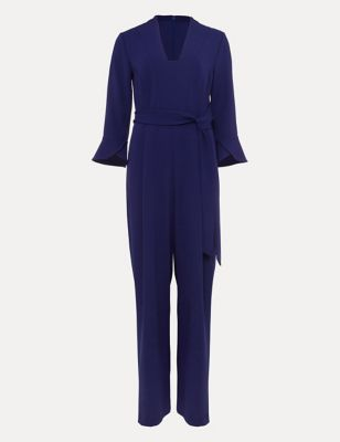 Belted 3/4 Sleeve Jumpsuit