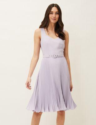 V-Neck Belted Knee Length Skater Dress