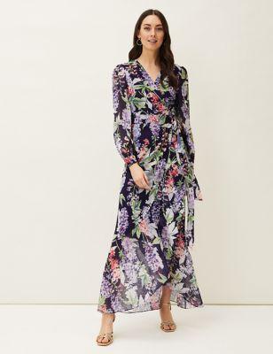 Floral V-Neck Tie Front Maxi Wrap Dress