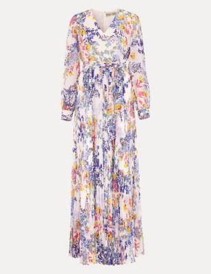 Floral V-Neck Waisted Maxi Dress