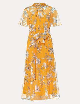 Floral High Neck Tie Front Midi Dress