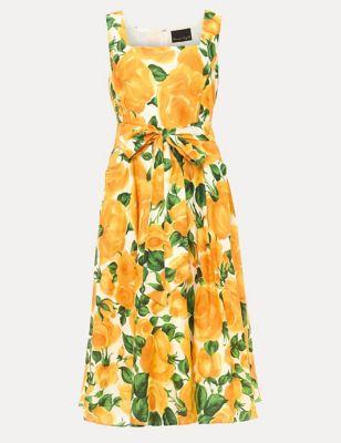 Pure Cotton Floral Midi Skater Dress