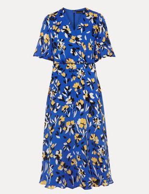 Floral V-Neck Midi Skater Dress