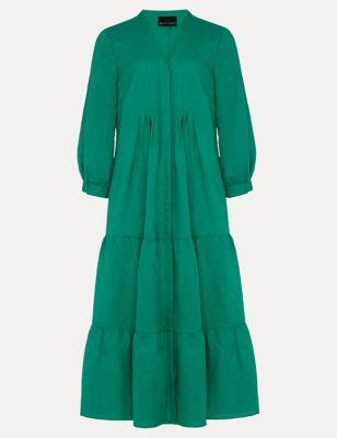 Linen V-Neck Pintuck Midi Shift Dress