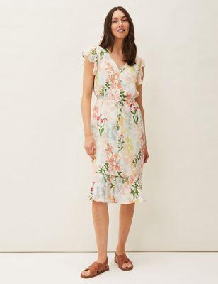 Floral V-Neck Tie Front Waisted Dress