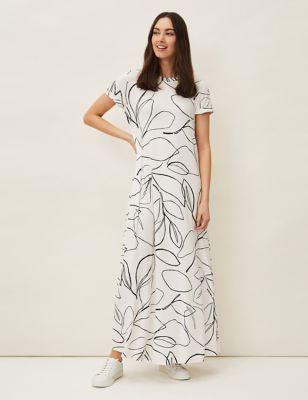 Floral Round Neck Maxi T-Shirt Dress