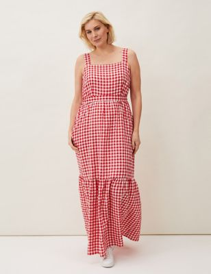 Checked Square Neck Maxi Waisted Dress