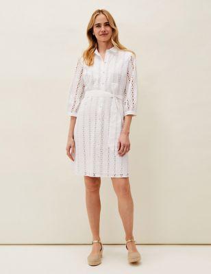 Pure Cotton Broderie Shirt Dress