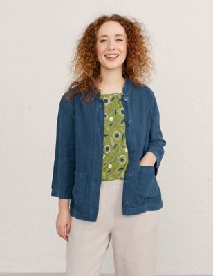 Pure Linen Relaxed Utility Jacket
