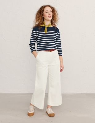 Cotton Wide Leg Cropped Trousers