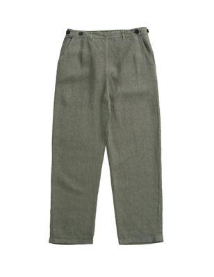 Pure Linen Straight Leg Trousers
