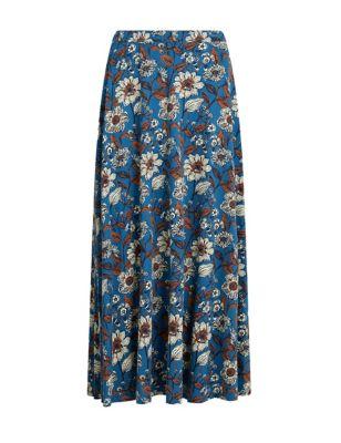 Cotton Floral Maxi A-Line Skirt