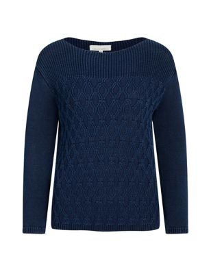 Pure Cotton Knitted Textured Relaxed Jumper