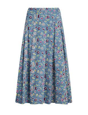Organic Cotton Floral Midaxi A-Line Skirt