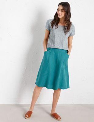 Pure Linen A-Line Skirt