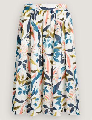 Pure Cotton Leaf Print Pleated Midi Skirt