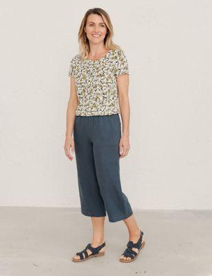Pure Linen Wide Leg Culottes