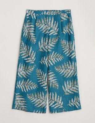 Pure Linen Palm Floral Print Culottes
