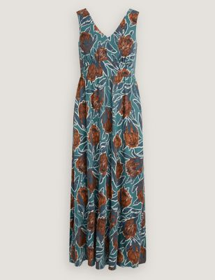 Organic Cotton Floral Sleeveless Maxi Dress