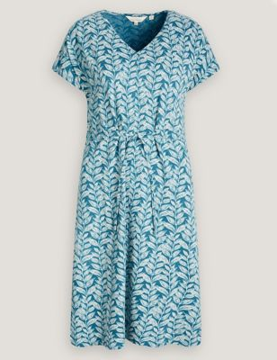 Cotton Floral V-Neck Midi Waisted Dress