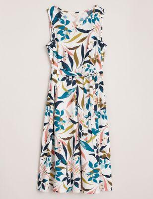 Pure Cotton Leaf Print Midi Waisted Dress