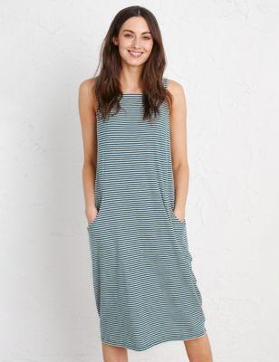 Pure Cotton Jersey Striped Midi Dress