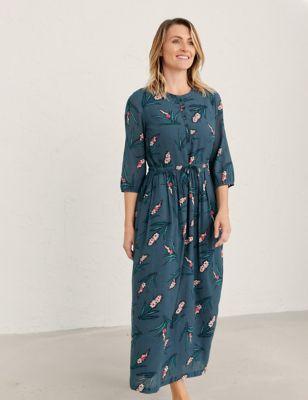 Cotton Floral V-Neck Maxi Waisted Dress