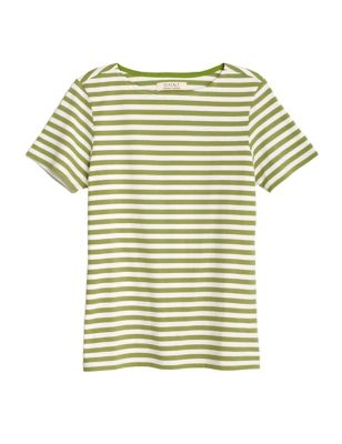 Organic Cotton Striped Slash Neck T-Shirt
