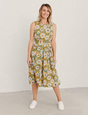 Pure Cotton Floral Print Midi Skater Dress