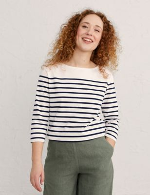Organic Cotton Striped Slash Neck Top