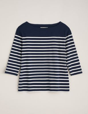 Organic Cotton Striped 3/4 Sleeve Top