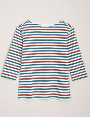 Organic Cotton Striped 3/4 Sleeve Top