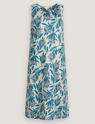 Pure Linen Floral Midi Shift Dress