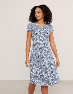 Organic Cotton Floral Waisted Midi Dress