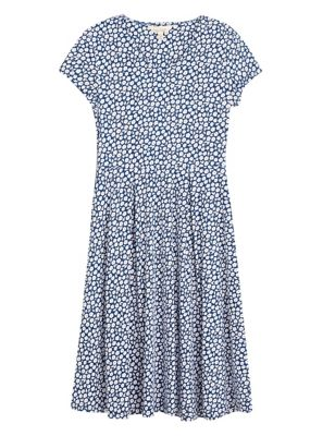 Organic Cotton Floral Waisted Midi Dress