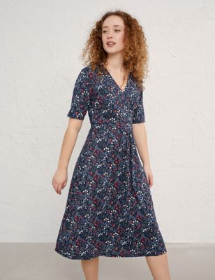 Cotton Floral V-Neck Waisted Midi Dress