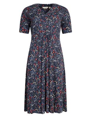 Cotton Floral V-Neck Waisted Midi Dress