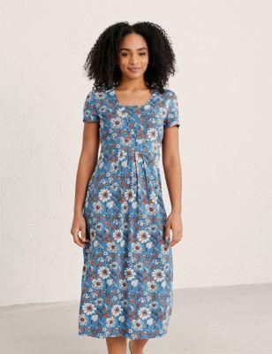 Floral Print Midi Waisted Dress