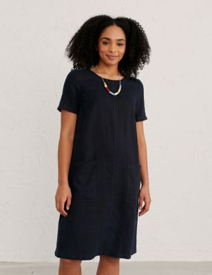 Pure Linen Round Neck Midi Shift Dress