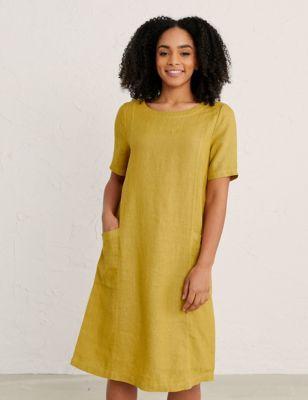 Pure Linen Round Neck Midi Shift Dress
