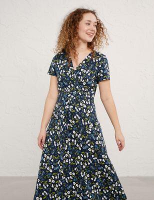 Organic Cotton Floral V-Neck Midi Dress
