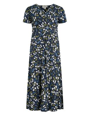 Organic Cotton Floral V-Neck Midi Dress