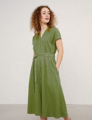 Pure Linen Tie Front Midi Waisted Dress