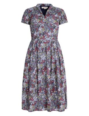 Organic Cotton Floral Midaxi Waisted Dress