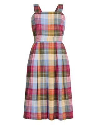 Pure Cotton Checked Midi Dress
