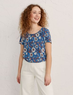 Floral Scoop Neck Relaxed Top