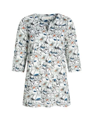 Pure Cotton Floral V-Neck 3/4 Sleeve Tunic